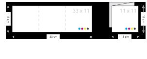 drieluik kaarten drukken 110 x 110 mm van 33x11