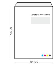 bedrukte enveloppen 229 x 324 mm venster rechts