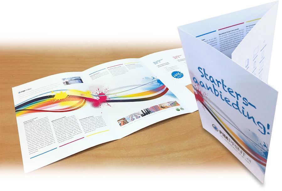 Voorbeeld van een drieluik A4 brochure. Deze folder uitvoering bevat 6 A4 pagina's en wordt volledig tweezijdig bedrukt.