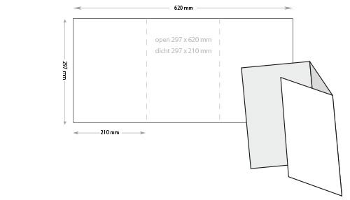 a4 drieluik folders, 160 grs