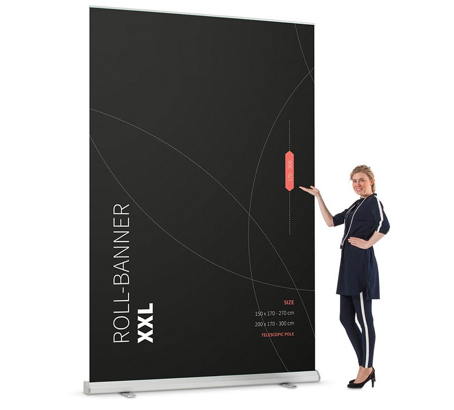 De grootste rollup banner XL als praktische mobiele beurswand