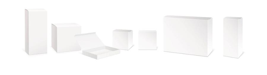 Overzicht van bedrukte dozen met logo