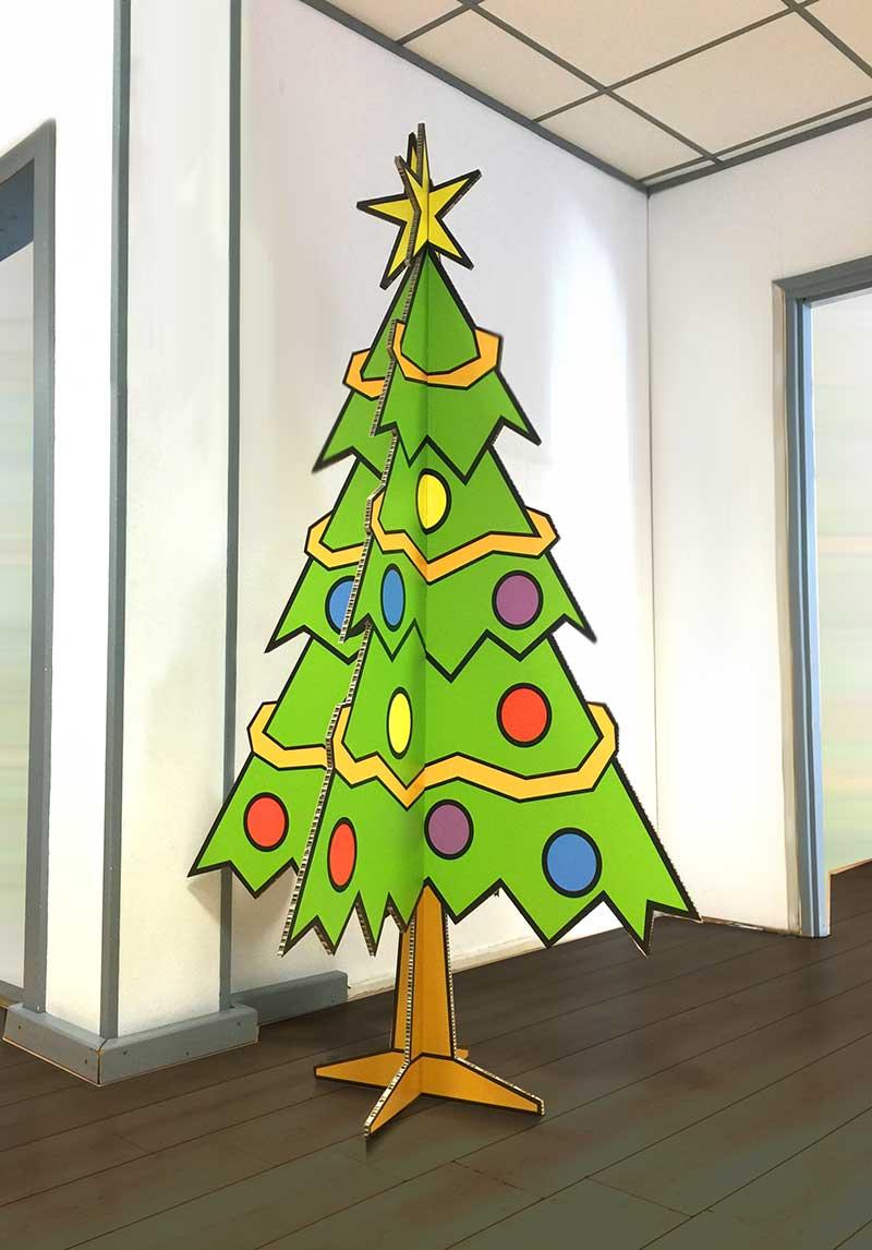 Voorbeeld van opgezette geprinte kerstboom van karton
