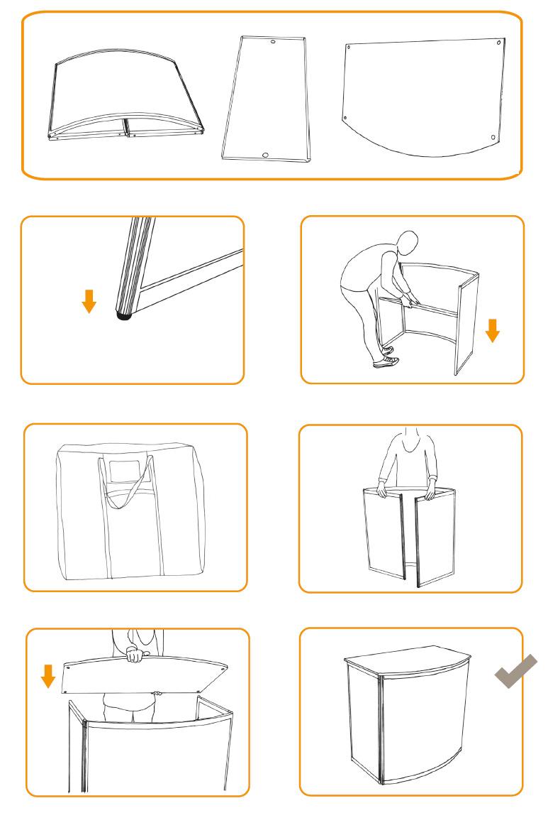 Instructies setup mobiele balie type Basic Counter gebogen