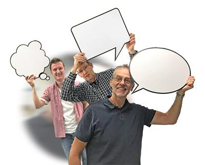 Uitgesneden denkwolkjes van karton, cutout denkwolkje