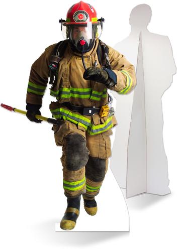 Levensgrote kartonnen brandweerman