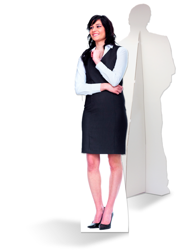 Levensgrote kartonnen zakenvrouw
