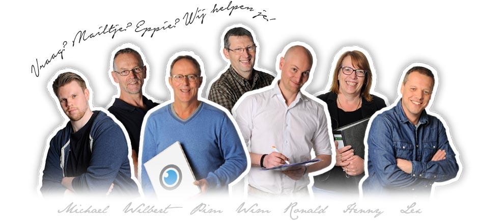 De medewerkers van PIM Print! Michael Groeneweg, Pim van der Meer, Wilbert Kooreman, Wim van Harteveld, Henny van der Meer, Lex Hogeboom