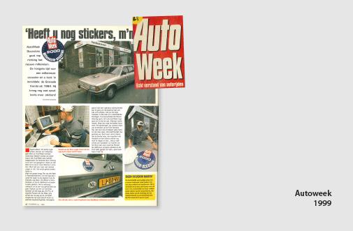 PIM Print in Autoweek, jaar 1999, artikel over autobelettering en stickers