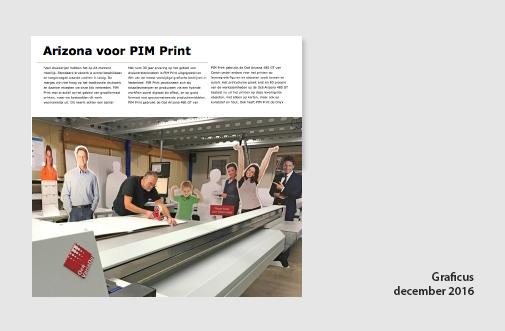 PIM Print in de Graficus van december 2016, perbericht over installatie Oce Arizona vlakbedprinter
