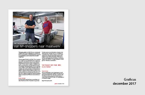 PIM Print in de Graficus van december 2017, perbericht over succes van werken met Zünd