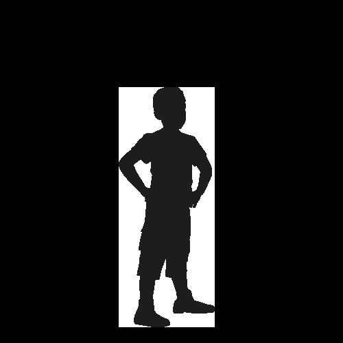 Levensgrote silhouet jongetje