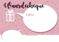 a3 cheque ontwerp 2 roze