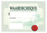 lichtgroene groot formaat cheque
