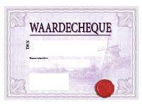 Paarse cheque op groot formaat 100 x 75 cm