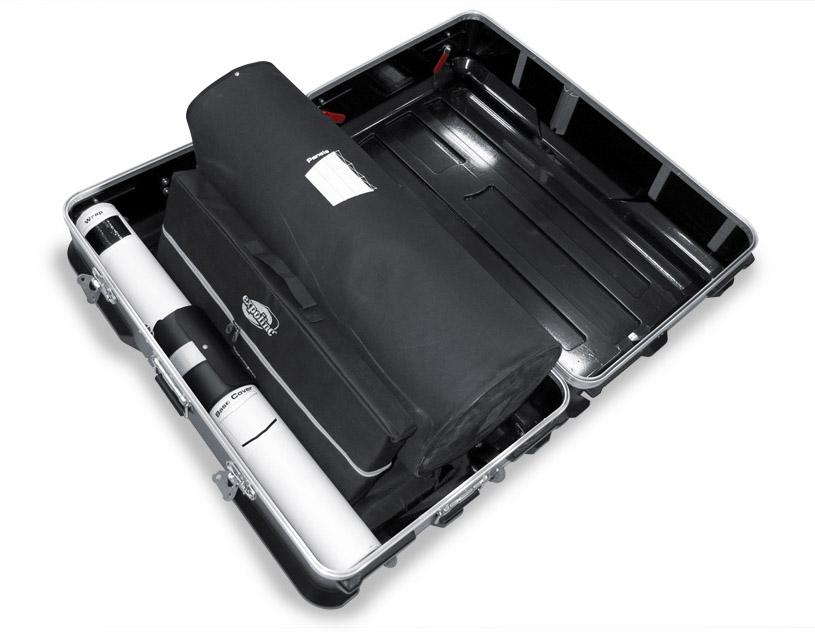 Beurswand in een rolkoffer