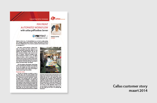 PIM Print in testimonial artikel van Callas software, jaar 2014, artikel over toepassing van Callas PDF toolbox server
