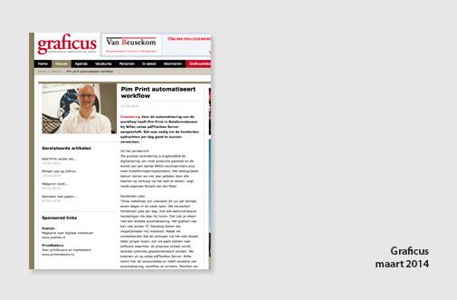 PIM Print in Graficus, jaar 2014, artikel over investering in automatisering