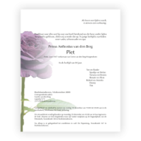 Bloemen rouwkaart 0203 Paarse Roos