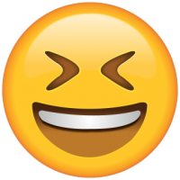 Life size Emoji Smiling with Tightly Closed Eyes