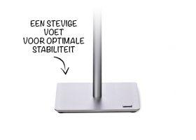 De Info Stand is voorzien van een verzwaarde voet, zodat de gehele presentatie stabiel staat