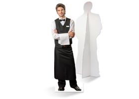 Een zelfstaande ober van karton is de ultieme blikvanger!