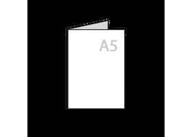 a5 folders drukken tweezijdig bedrukt, mat, glossy of glad papier, 1 slag gevouwen