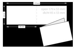 breed gevouwen visitekaartjes drukken open 170 x 55 mm
