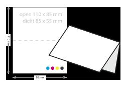 kort gevouwen visitekaartjes drukken open 110 x 85 mm